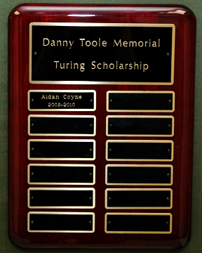 The Danny Toole Memorial Turing Scholarship Fund Plaque