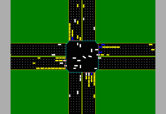 A simulation of the autonomous intersection management system shows cars moving about in what looks like disorganization. Photo courtesy the University of Texas